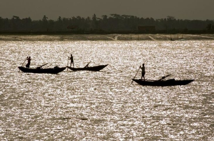 Fishing in the river Shibsha in western Bangladesh