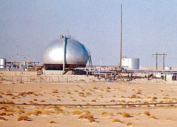 Oil plant in Bahrain desert.