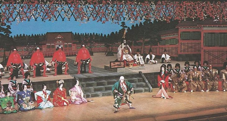 Scene from a kabuki play, a Japanese popular theater that includes music, dance and drama.