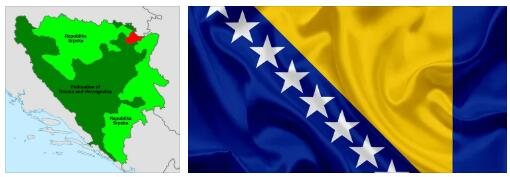 Bosnia and Herzegovina Flag and Map