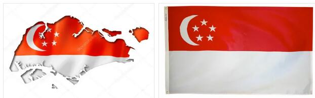 Singapore Flag and Map