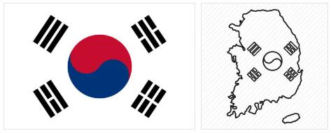 South Korea Flag and Map